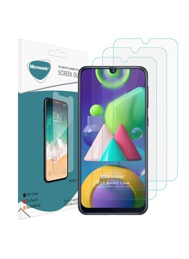 Microsonic Samsung Galaxy M21 Screen Protector Nano Glass (3 Pack) Renkli